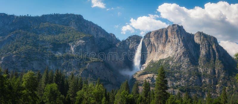 Upper Falls Panorama in Yosemite Valley stock photos