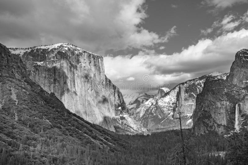 Beautiful view in Yosemite valley with half dome and el capitan stock image
