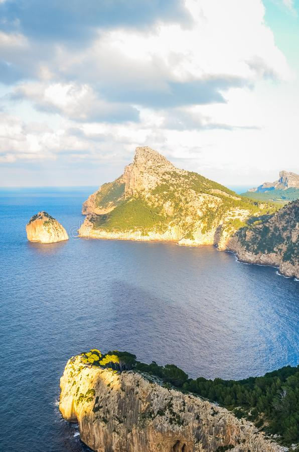 Beautiful viewpoint Mirador Es Colomer in Spanish Mallorca, Balearic Islands on a sunny winter day. Cliffs and Mediterranean sea. royalty free stock photography