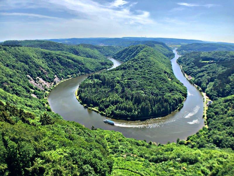 Beautiful viewpoint by the river Saar in Germany in Orsholtz Saarschleife royalty free stock photo