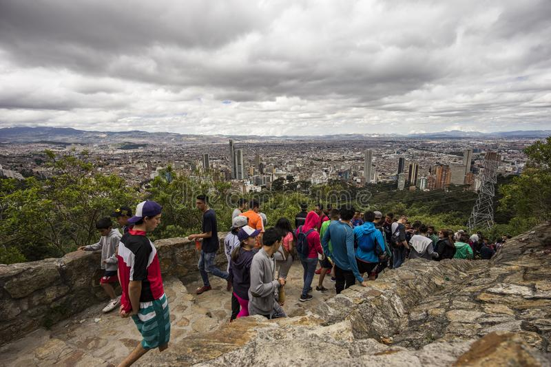 Nice views of Bogotá from the Monserrate Trail royalty free stock image