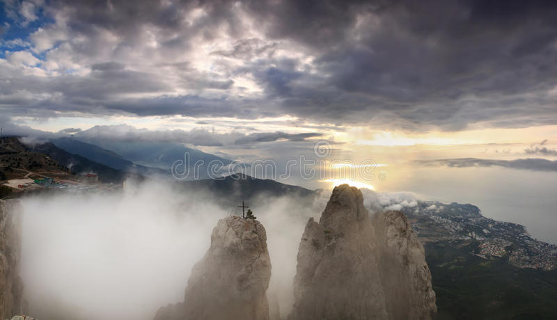 Beautiful views of the Crimean Mountains. On sunset background royalty free stock image