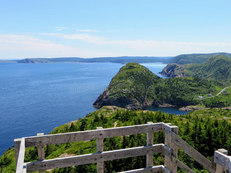 Beautiful views hiking the east coast trail from a lookout  Below is the vast atlantic ocean, rugged headlands, and green forests. Off the beautiful coast of stock photos
