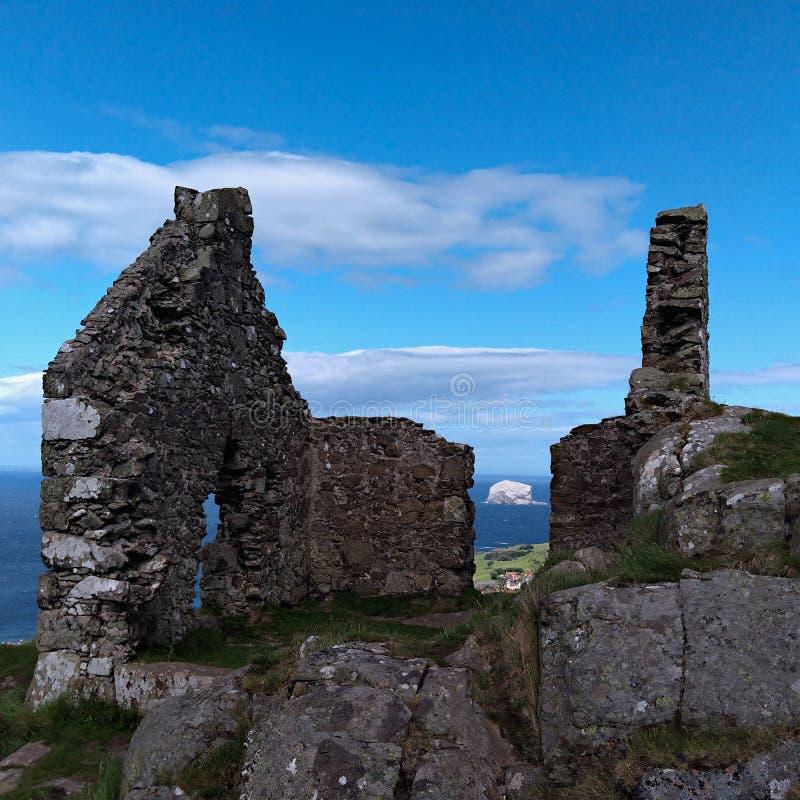 Gothic castle ruins near North Berwick, Scotland royalty free stock photos