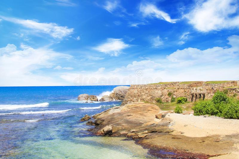 Beautiful views of the oceanfront in the environs of Fort Galle, Sri Lanka. On a sunny day stock photos