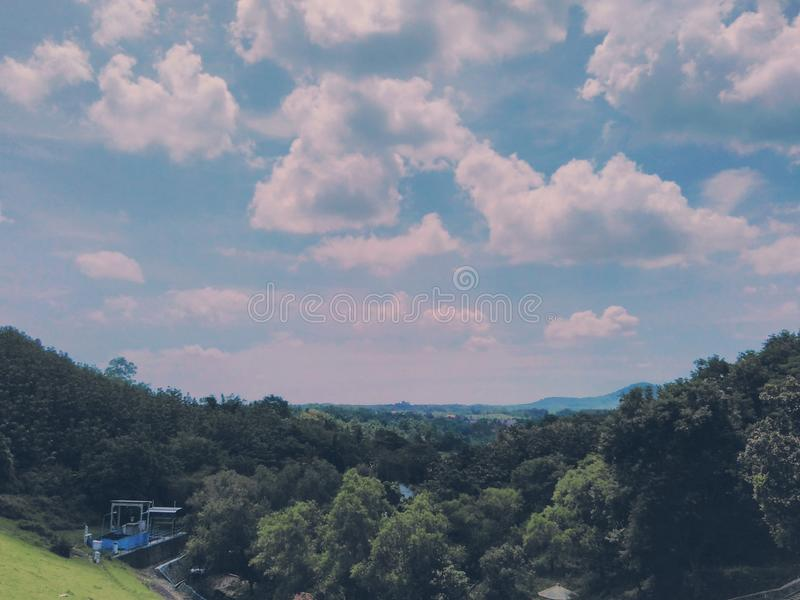 Beautiful views over clouds and hills royalty free stock photography