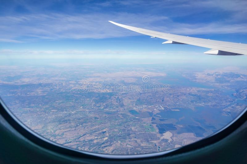 Beautiful views of the San Francisco bay area. Aerial view of north San Francisco bay area as seen from the airplane on a sunny day royalty free stock photography