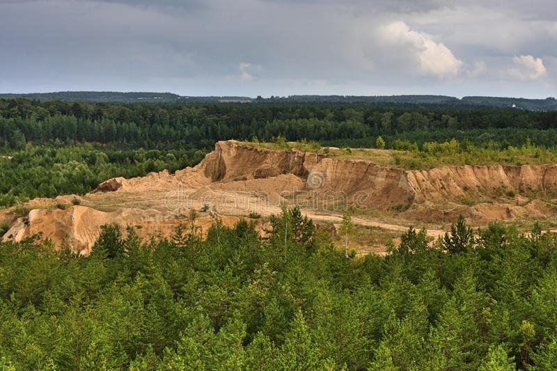 Beautiful views to sandy quarry. Sandy quarry  - very good place for making great photos royalty free stock photo