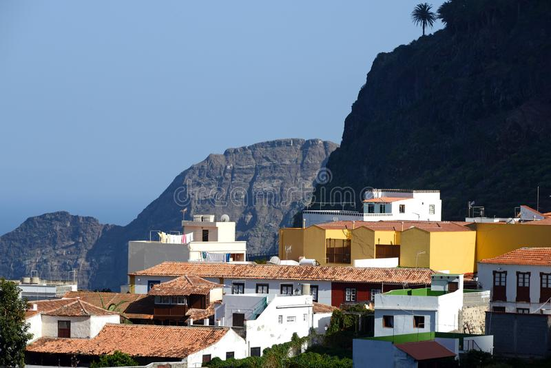 Agulo on Gomera island. Beautiful village of Agulo at the north coast of La Gomera stock images