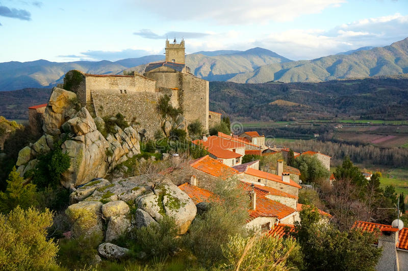 The beautiful village of Eus, France royalty free stock image