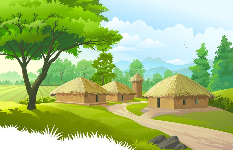 A beautiful village with farmlands, trees, meadows and with mountains in the background. A town of huts in the middle of the meadows, trees, mountains, farmlands vector illustration