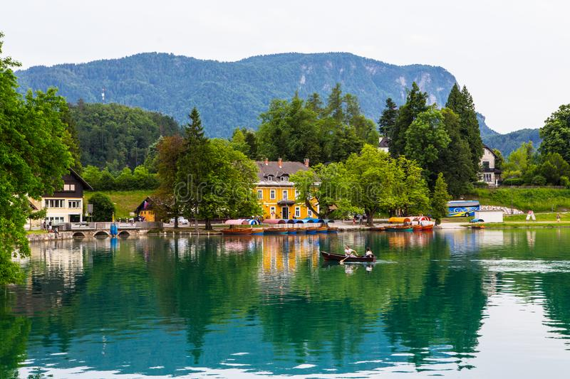 Lake bled. Beautiful village at Lake Bled in Slovenia stock photo