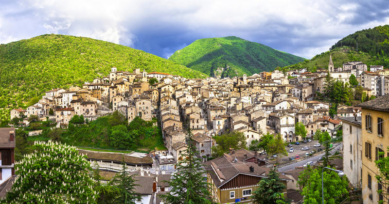 Beautiful villages of Abruzzo - Scanno. Italy. Authentic medieval villages of Abruzzo - Scanno. Italy royalty free stock photos