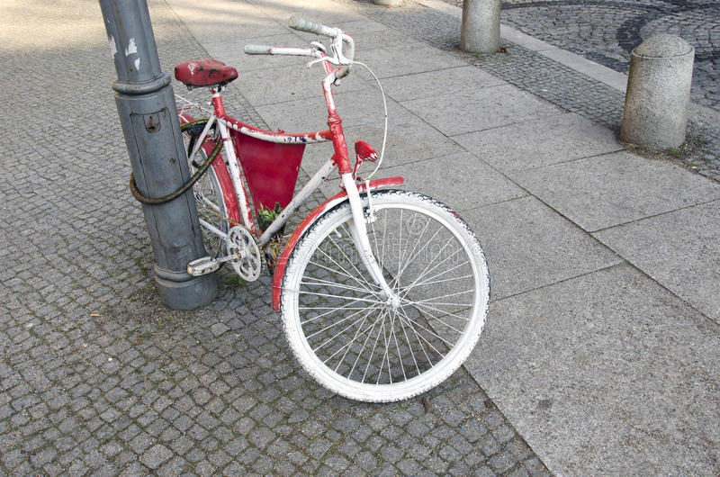 Beautiful vintage bicycle in city street royalty free stock photo