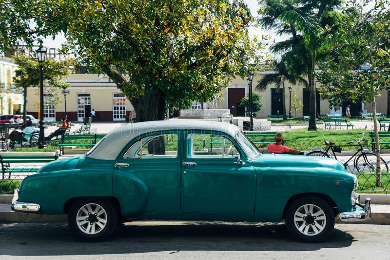 Beautiful vintage car in Manzas city. Beautiful green vintage car in Manzas city in Cuba stock images