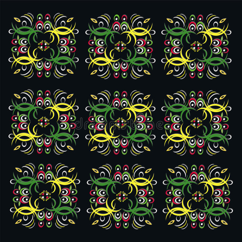 The beautiful vintage colorful pattern on a black background stock illustration