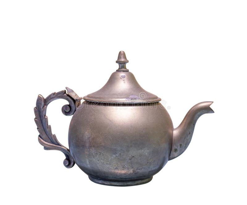 Beautiful vintage copper teapot kettle with tarnished metal, isolated in white background. Old teapot with abrasions. Horizontal photo of a beautiful vintage royalty free stock photos