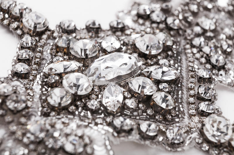 Beautiful vintage diamond necklace closeup. Beautiful vintage diamond necklace. Closeup of luxury jewelry with crystals. Artwork, female accessories, elegance stock photo