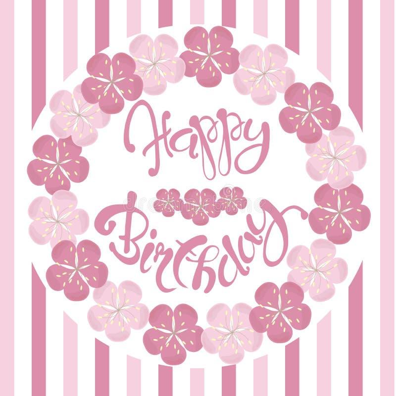 Beautiful Vintage Floral Happy Birthday Invitation Card, Hand Draw ...