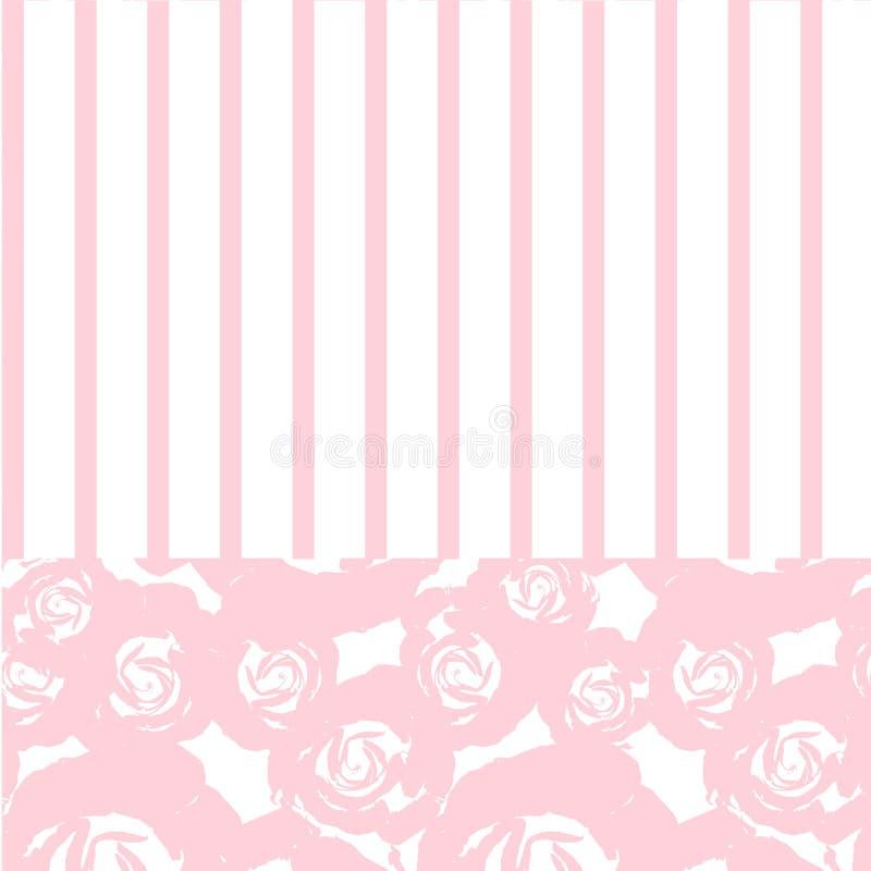 Beautiful vintage floral pattern, hand drawn pink rose, strips stock vector design element stock illustration