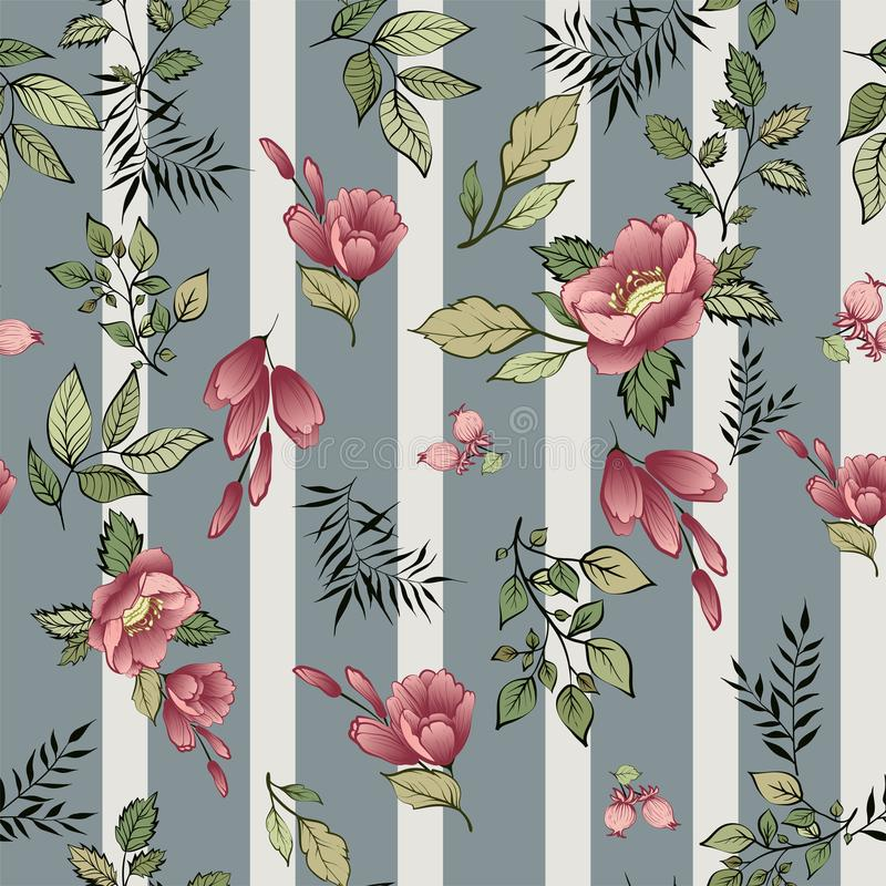 Beautiful vintage Floral pattern in many kinds of colors. stock illustration