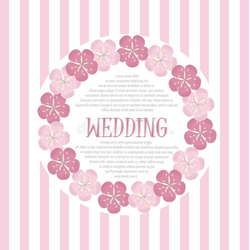 Beautiful vintage floral wedding invitation card, hand draw pink flowers, vector royalty free illustration