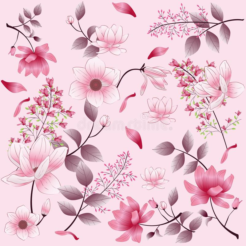 Beautiful vintage flower pattern on pink background royalty free stock photography