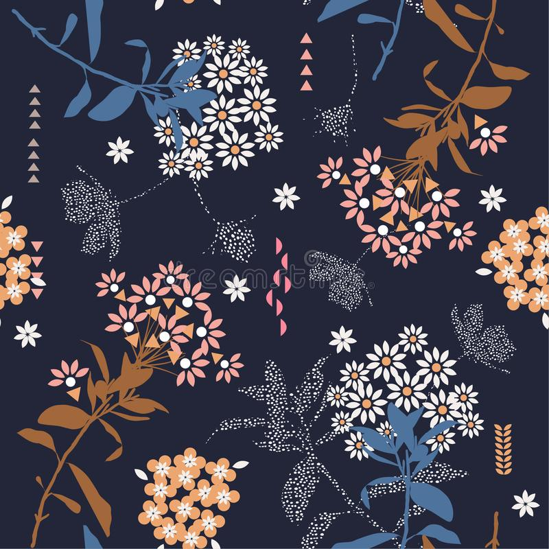 Beautiful vintage geometric flower mix with garden leaf in the d. Ark ,colorful mood for fashion fabric,wallpaper and all prints on dark blue background stock illustration