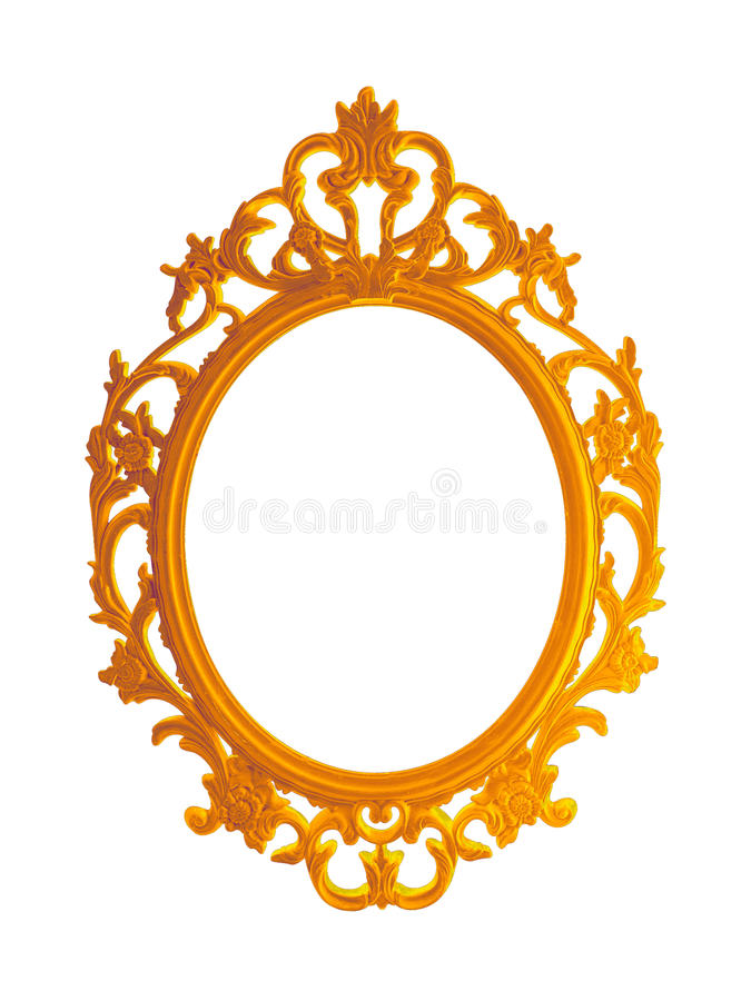 Beautiful vintage gilded photo frame or mirror isolated on white background stock images