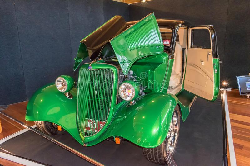 Beautiful vintage green hot rod Ford car stock photography
