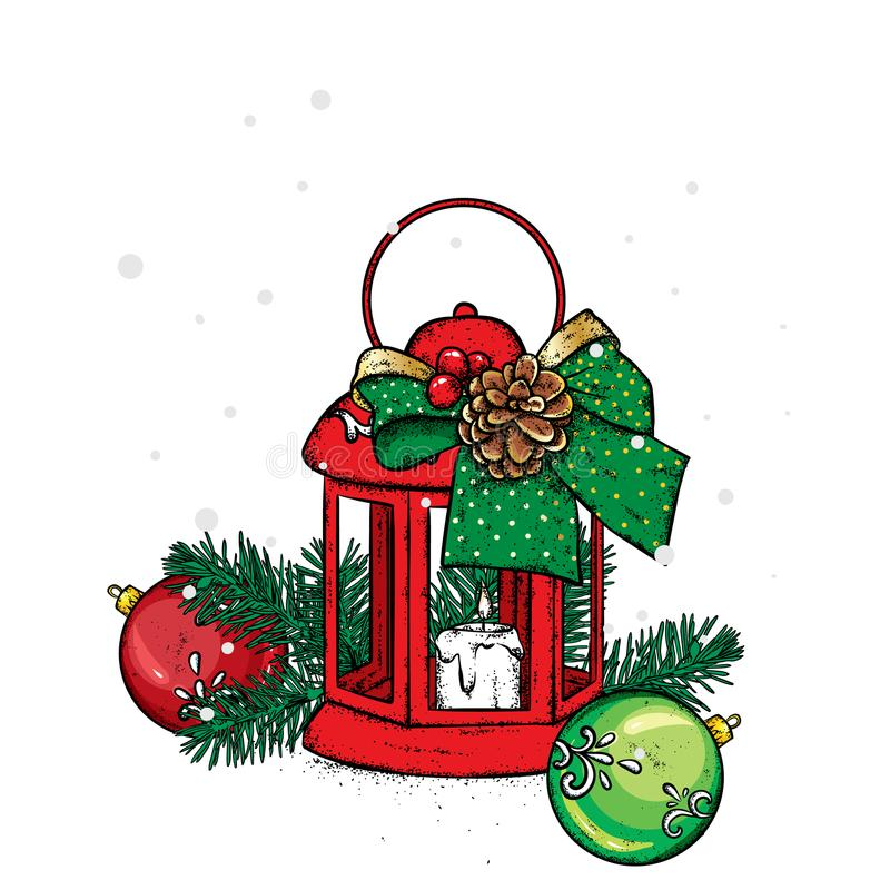 Beautiful vintage lantern with a candle. Vector illustration. Festive postcard. New Year`s and Christmas. A bow and a bump. stock illustration