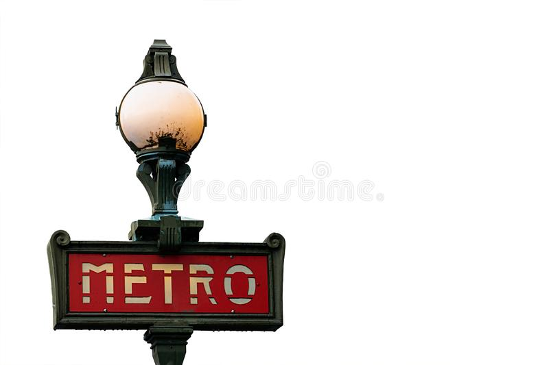 Beautiful Vintage Metro Sign In Paris, France stock images
