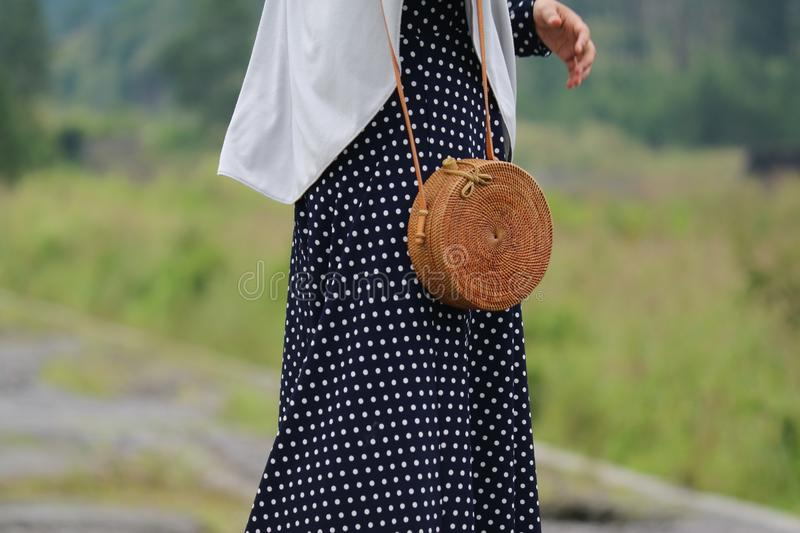 Beautiful Vintage Rattan Bag for Woman stock images