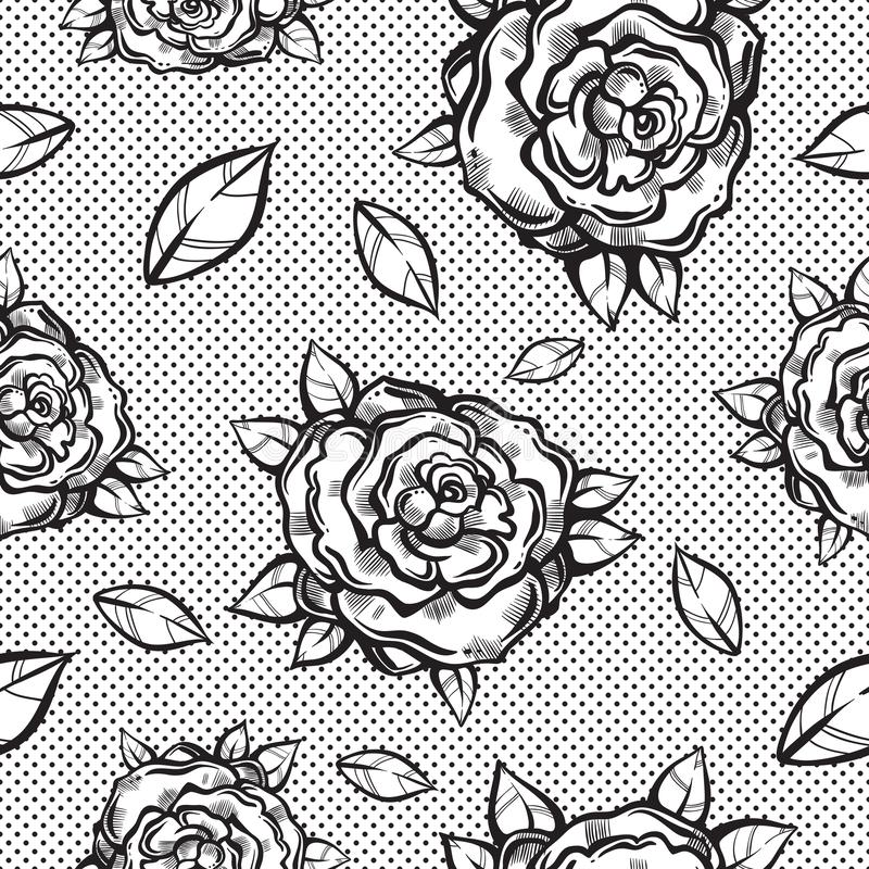 Beautiful vintage seamless pattern with gothic roses in linear style. Black and white retro illustration. Bohemian, tattoo art. stock illustration