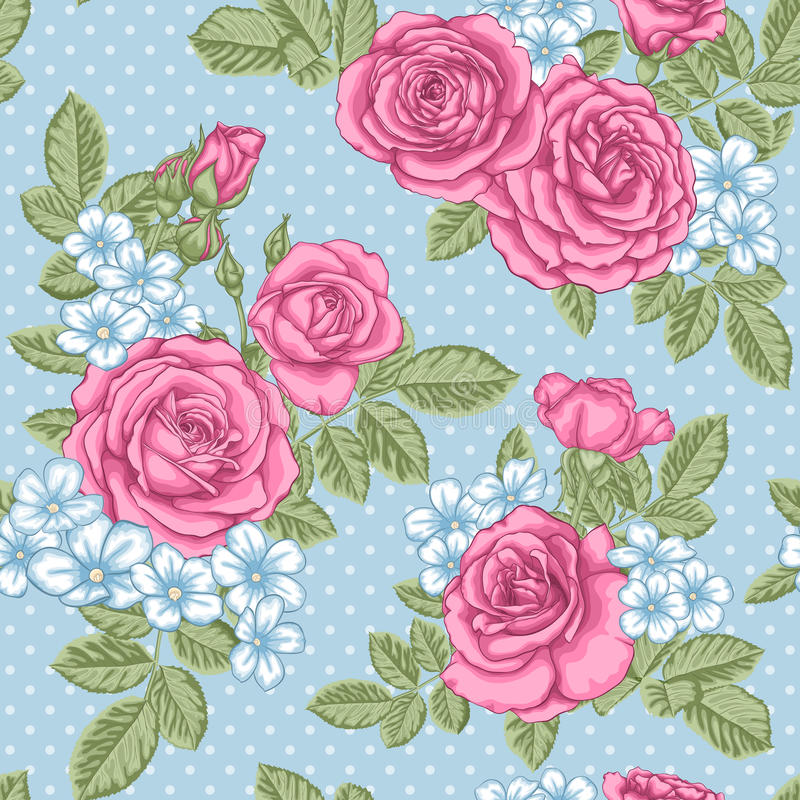 Free Beautiful Vintage Seamless Pattern With Bouquets Of Roses And Leaves. Royalty Free Stock Photos - 80536178