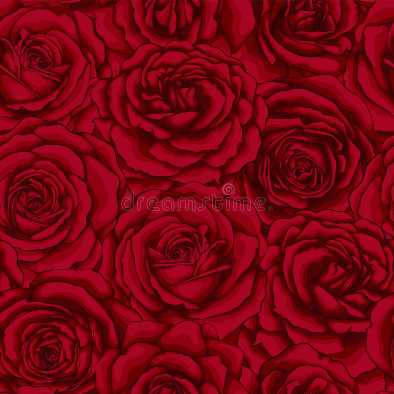 Free Beautiful Vintage Seamless Pattern With Red Roses. Stock Images - 85451784