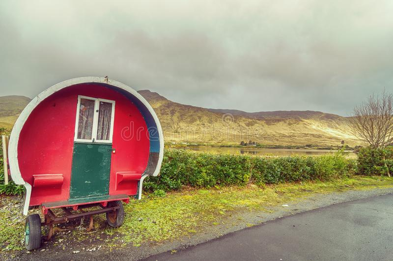 Beautiful vintage toned style scenic irish countryside landscape from the north west. achill island royalty free stock image