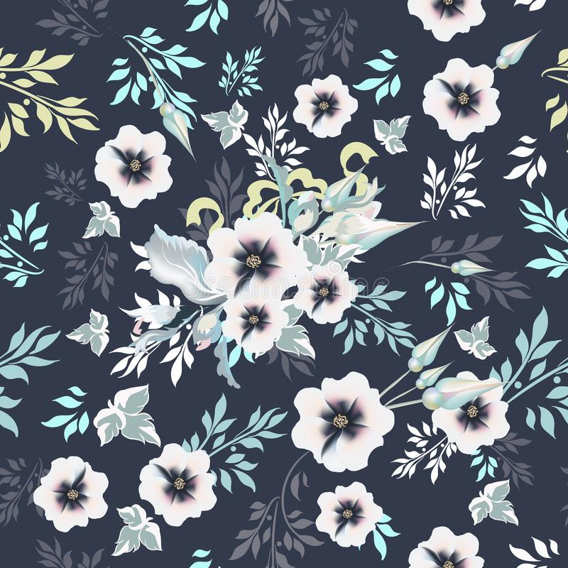 Beautiful vintage vector pattern with realistic flowers and lea vector illustration