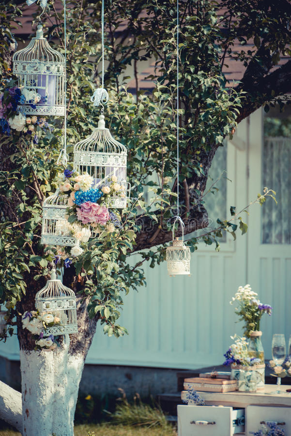 Download Beautiful Vintage Wedding Ceremony Outdoors Summertime Old White Wooden House Tree Decorated