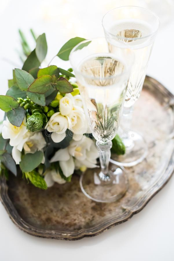 Beautiful vintage wedding decoration with champagne and white fl royalty free stock photography