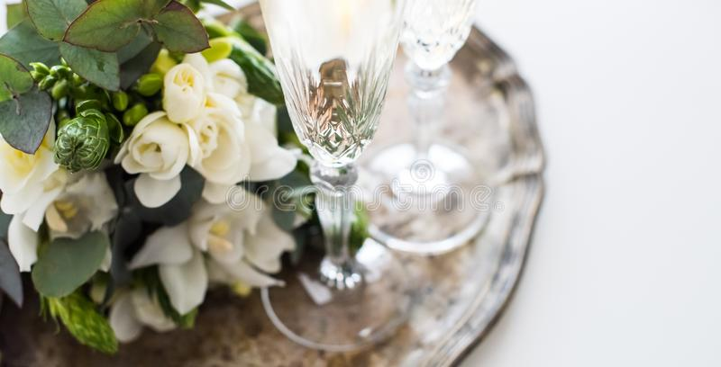 Beautiful vintage wedding decoration with champagne and white fl stock photos