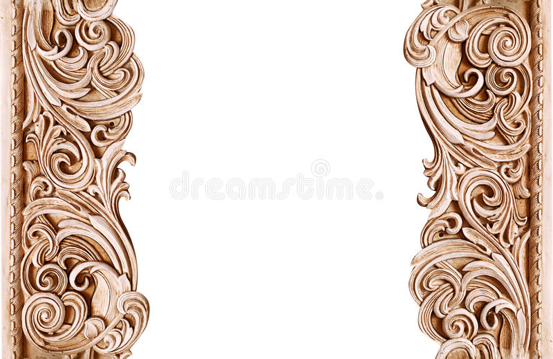 Beautiful vintage wooden frame isolated on white background with space for text stock image