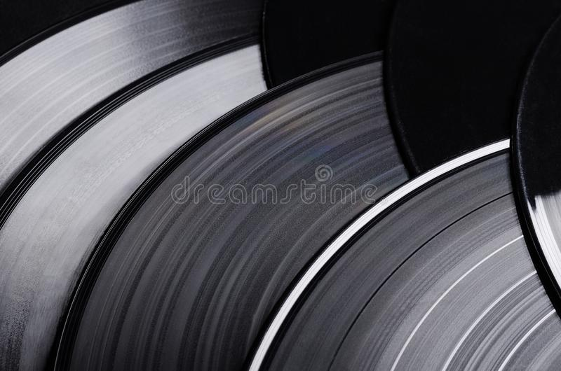 Beautiful vinyl record. Group of black vintage records. Stylish musical records. Group of black vintage records. Beautiful vinyl record. Stylish musical records stock photos