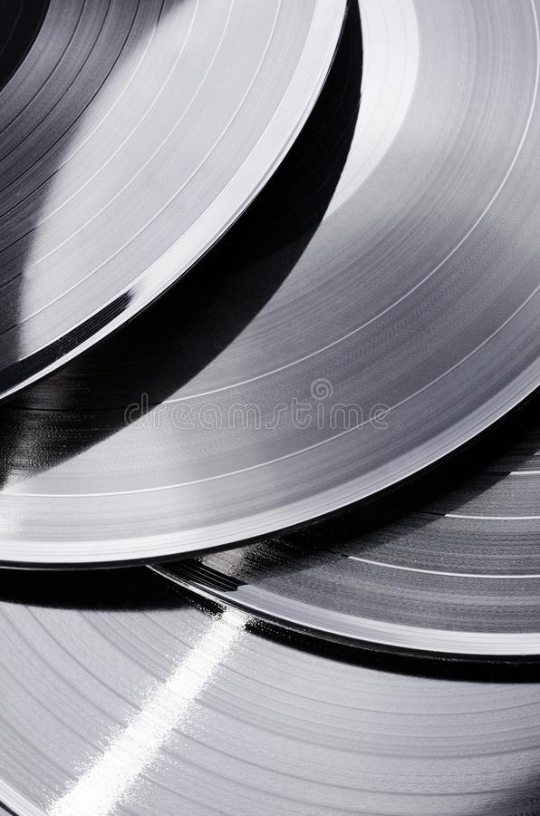 Beautiful vinyl record. Group of black vintage records. Stylish musical records. Group of black vintage records. Beautiful vinyl record. Stylish musical records royalty free stock images