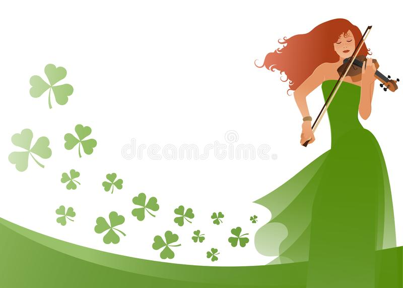 Beautiful violinist playing violin isolated on white background, surrounded by clovers. Blank space for text or design vector illustration