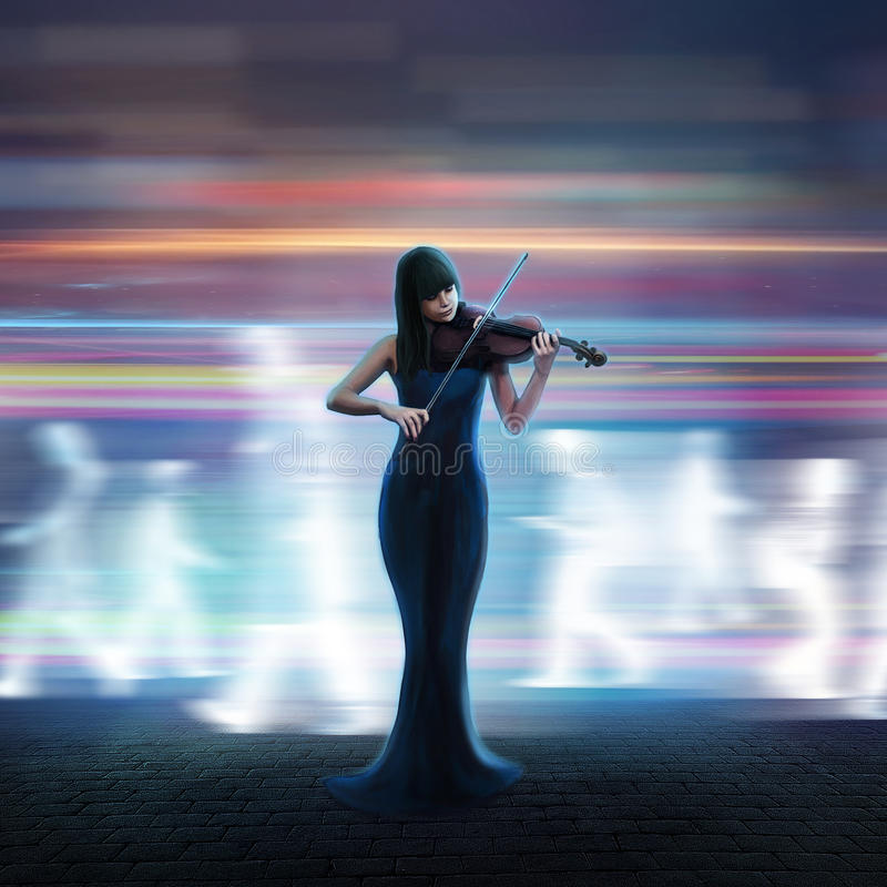 Beautiful violinist. Plays a tune on the night street vector illustration