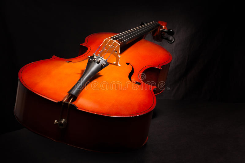 Beautiful violoncello on the black background. Beautiful violoncello body view in vertical position on the black background royalty free stock photos