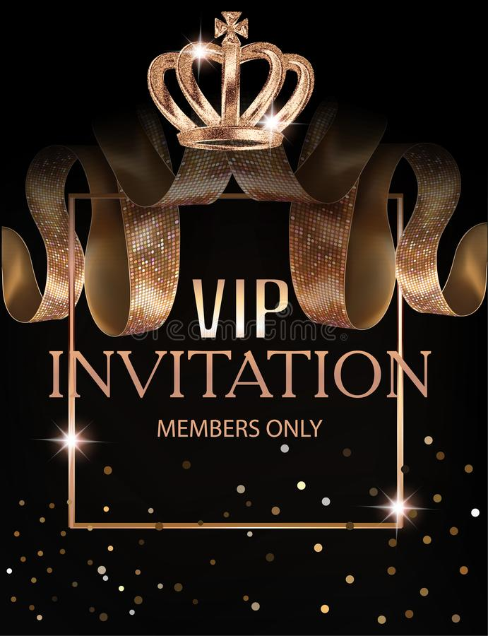 Beautiful VIP invitation banner with silk ribbons with pattern, crown and frame. Vector illustration vector illustration