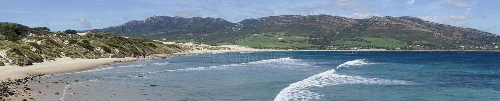 Beautiful virgin beaches of Andalusia, valdevaqueros in the province of Cadiz. Views of the beaches of Tarifa on the southern coast of Spain, Andalusia stock image