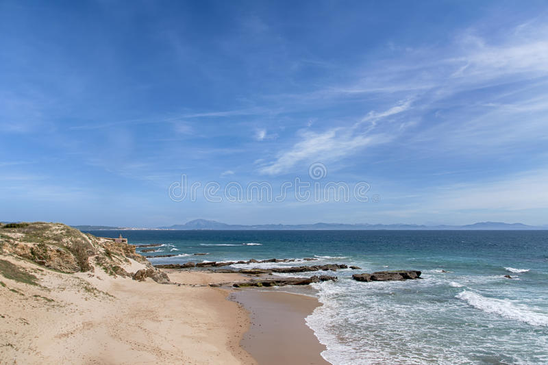 Beautiful virgin beaches of Andalusia, valdevaqueros in the province of Cadiz. Views of the beaches of Tarifa on the southern coast of Spain, Andalusia royalty free stock photography